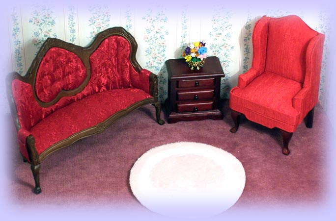 Dollhouse Miniatures Living Room Furniture,Couch, Chair, Table, Buffet